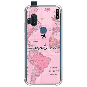 capa-para-motorola-one-hyper-vx-case-world-map-pink-translucida